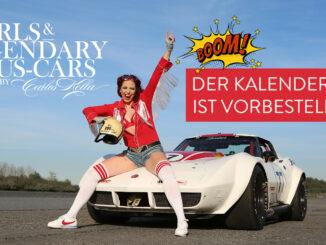 Der Girls & legendary US-Cars 2021 Wochenkalender erscheint am 15.08.2020 bei SWAY Books und ist ab sofort vorbestellbar! Auf dem Titel: Burlesque-Performer Eve Champagne aus Hamburg und eine Chevrolet Corvette C3 (B-Production Racer) von 1973.